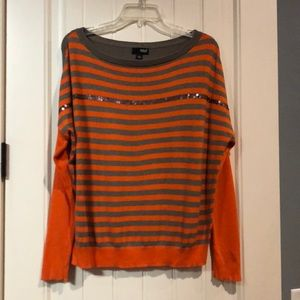 Ana orange and gray sweater with sequin detail